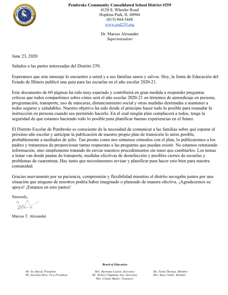 School Reopening Letter 6-23-2020 (SPANISH)